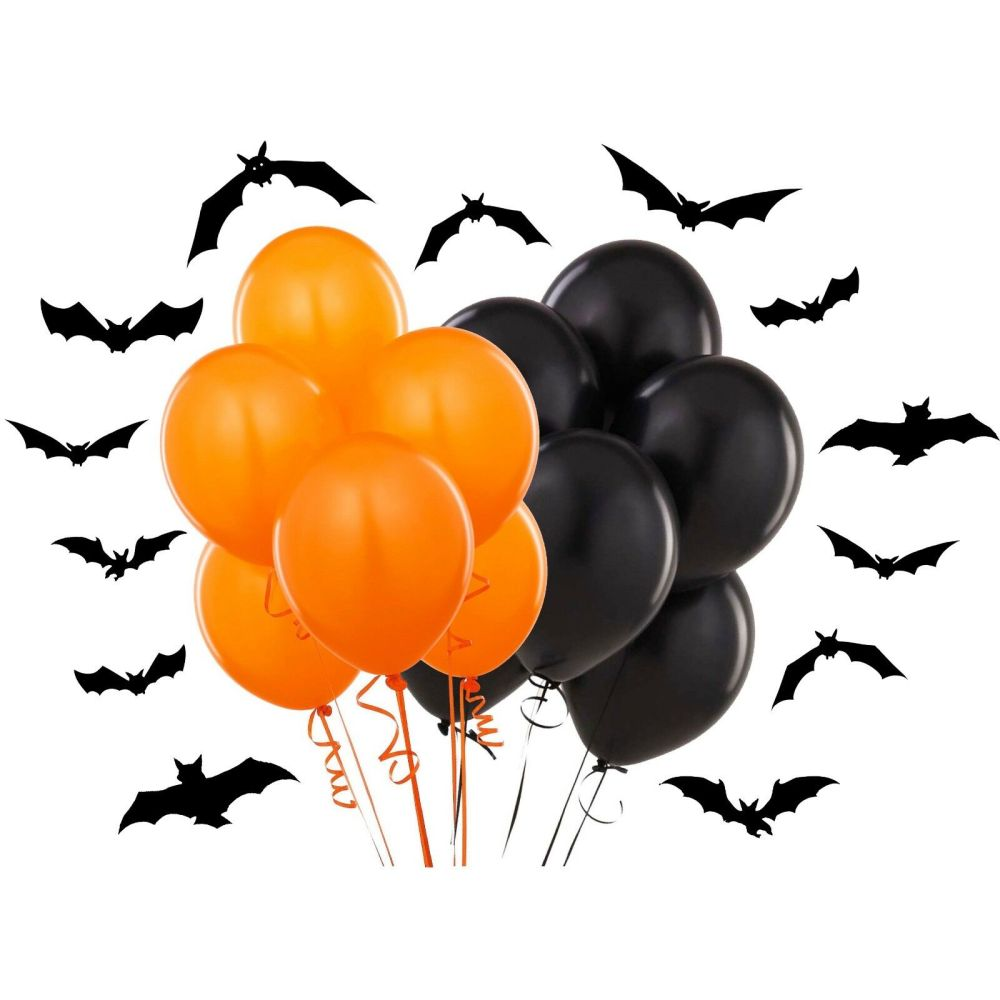 medium resolution of details about plain black orange 12 inch halloween party balloons decorations