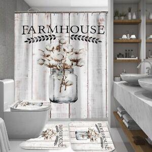 details about 4 3 1pc hippie farmhouse shower curtain bath curtains rugs toilet seat cover set