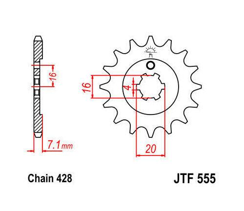 JT Front Sprocket 428 13T fits Kawasaki/Suzuki KX100/KX65
