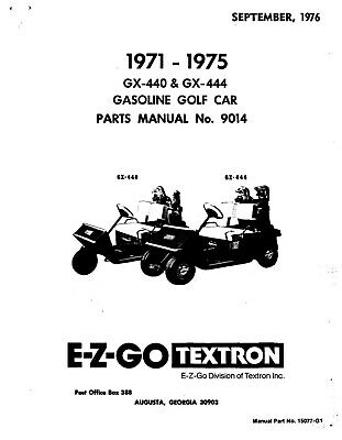 1971-1975 E-Z-GO Gas Golf Cart GX-440 & GX-444 Service