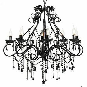 Large Vintage Chandelier 8 Light Shabby Black Crystals and