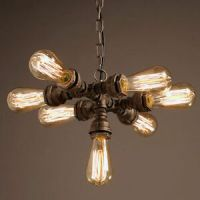 INDUSTRIAL RUST STEAMPUNK FACTORY PIPE PENDANT LIGHT ...