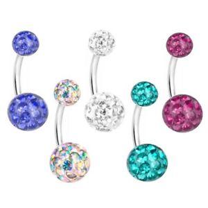 Bauchnabel Piercing Stecker Multi Kristall Kugeln | Farben Wählbar