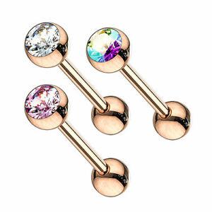 Zungenpiercing Barbell Hantel Rose vergoldet Kristallkugel Intim Piercing