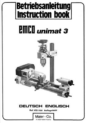 Emco UNIMAT 3 INSTRUCTION MANUAL (65 pages) + PARTS GUIDE