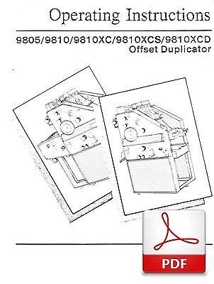 AB DICK 9805 9810 XC XCS XCD OFFSET DUPLICATOR OPERATORS