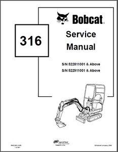 Bobcat 316 Compact Excavator Service Repair Manual on a CD
