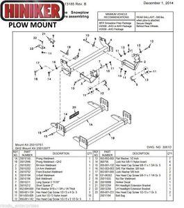 Hiniker Snowplow Mount Dodge '94-'02 1500,2500,3500 Quick