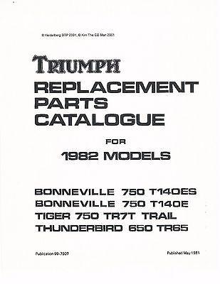 Triumph Parts Manual Book 1982 Bonneville 750 T140ES, 1982