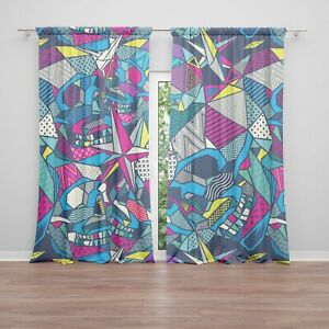 details about skulls window curtains colorful drapery curtain panels skull window treatment