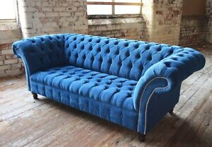 blue velvet chesterfield sofa leather motion modern handmade teal couch chair 3 seater image is loading