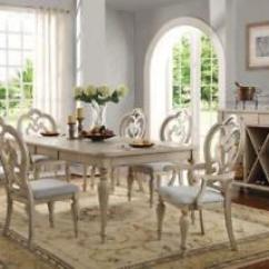 Antique White Living Room Tables Wrought Iron Furniture Acme Abelin 7 Piece Finish Dining Table Image Is Loading