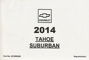 2014 Chevrolet Tahoe Suburban Owner's Owners Owner Manual