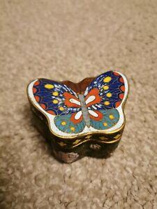 Beautiful Rare & Unique Vintage Chinese Cloisonne Butterfly Enamel Trinket Box