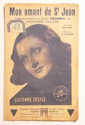 Lucienne Delyle Mon Amant De St Jean : lucienne, delyle, amant, Partition, Vintage, Sheet, Music, LUCIENNE, DELYLE, Amant