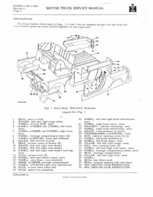 Scout Shop Manual Service Repair International CTS Book