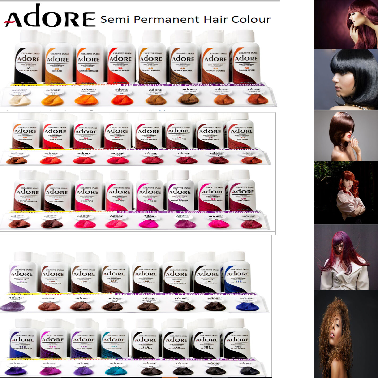 Adore Semi Permanent Hair Dye Colour Ammonia Peroxide