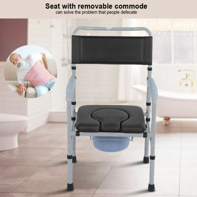 folding chair for bathroom spandex banquet covers sale adult steel bedside commode toilet seat safety adjustable