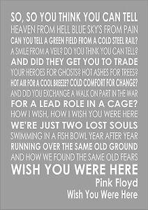 Lirik Wish You Were Here Pink Floyd : lirik, floyd, Floyd, Lyrics, Lyric, Typography, Words
