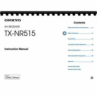 Onkyo TX-NR515 Audio Receiver Owner's/ User Manual (Pages