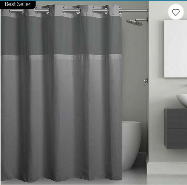hookless frost grey waffle extra long shower curtain liner 71 x 86 rbh52my36
