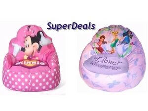 bean bag chair for toddler gaming reviews pc disney kids sofa minnie mouse tinkerbell image is loading