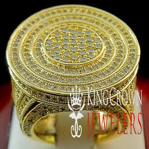 CANARY LAB DIAMOND YELLOW GOLD FINISH MENS BIG BOLD PINKY