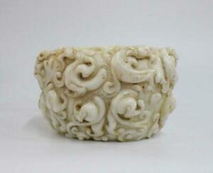 Old Fine Chinese Carved White Jade Incense Burner with Dragon
