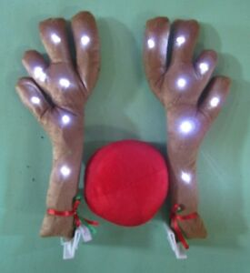 Lighted Antlers Red Nose Rudolph Reindeer Car Truck