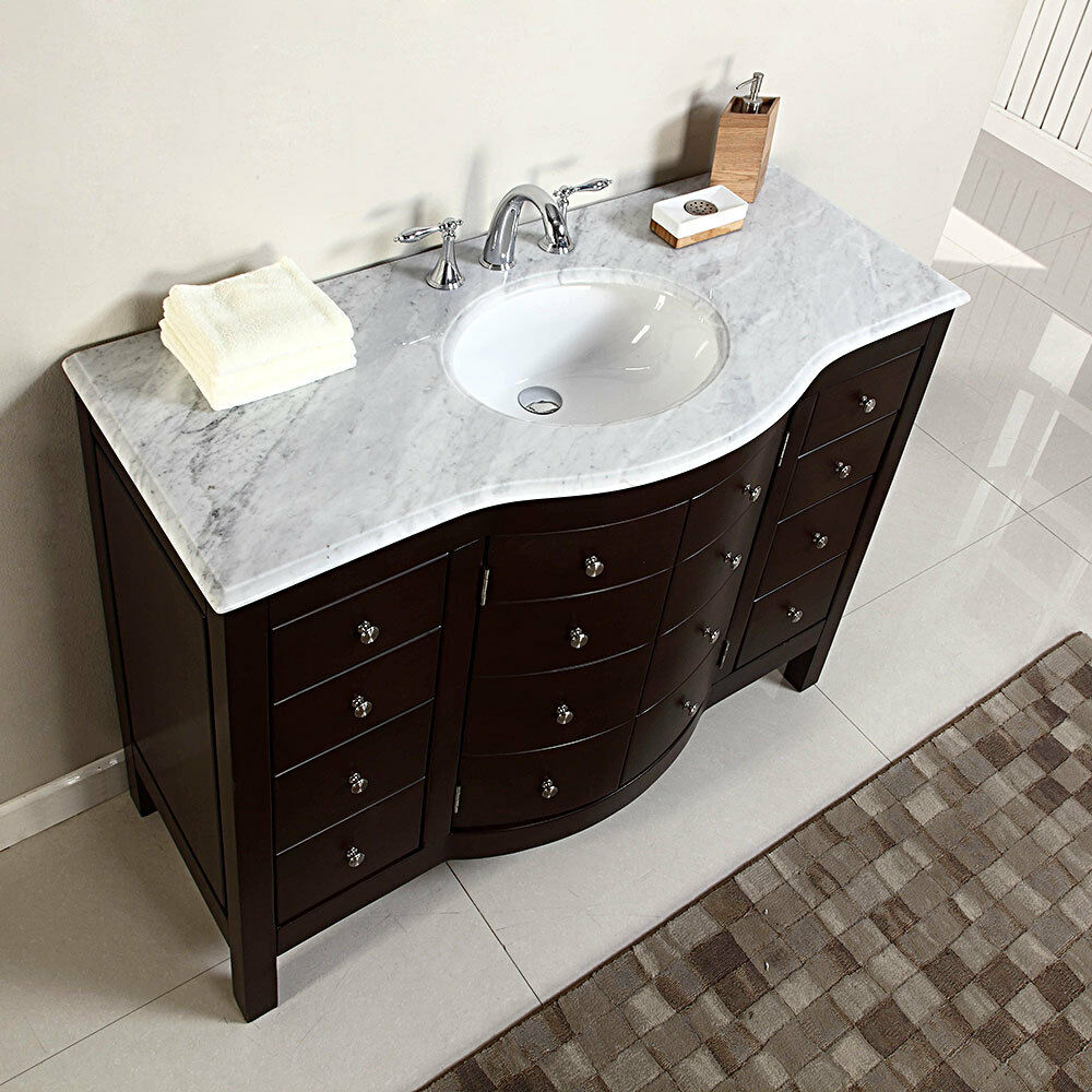 Single Sink 48 Black Bath Vanity Quartz White Marble Top Vitreous China Basin For Sale Online Ebay