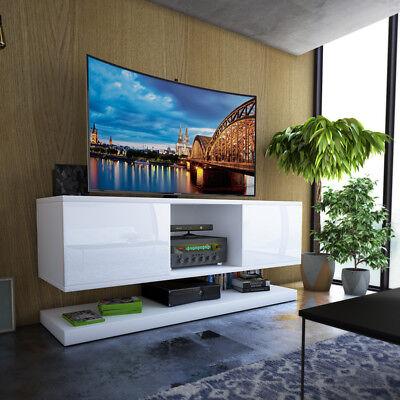 wizzardin meuble tv suspendu 140 cm blanc gris noir moderne led optionnel