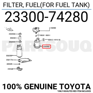 2330074280 Genuine Toyota FILTER, FUEL(FOR FUEL TANK