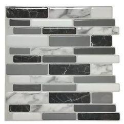 Stick On Backsplash Tiles For Kitchen Calphalon Essentials Art3d 12 X12 Peel And Tile Marble Details About Grey 6 Pack
