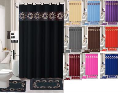 18 piece elegant bathroom set shower curtain rings towels mats included ebay