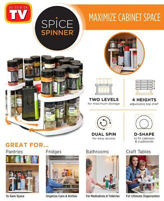 spice spinner as seen on tv two tiered spice rack with dual turntables