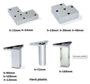 Pied De Meuble Plastique Jambe Canape Lit Table Argent 12 120mm Ebay