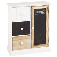 MDF Small Wooden Storage Cabinet Table Top Unit 3 Drawer