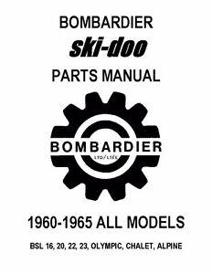 Bombardier Ski-Doo parts manual 1965 BSL 16, 20, 22, 23