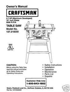 Craftsman Table Saw Model 137 For Sale