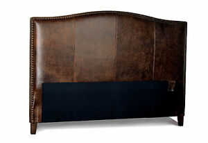 details about king size antique brown leather headboard for bed with distressed nail heads