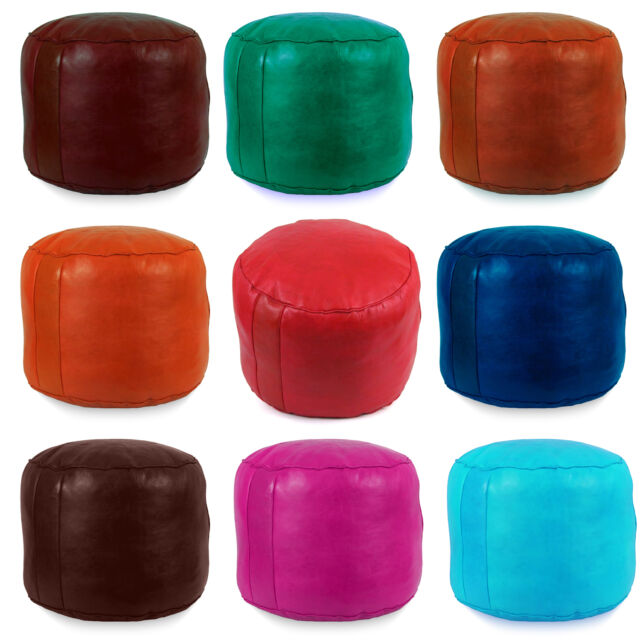 large moroccan leather ottoman pouffe