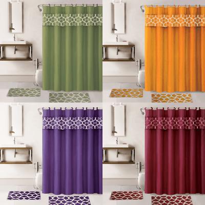 4pc set bathroom bath mat rug shower curtain fabric covered rings mix colors ebay