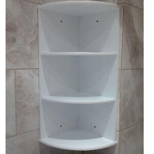 Bathroom Corner Shelf Shelving Unit White Wooden Cabinet 3