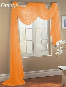 details about 1 pcs bright orange sheer voile window panel solid scarf valance curtains