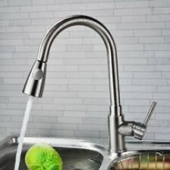 Brushed Nickel Kitchen Faucet With Sprayer Stacked Stone Backsplash Pull Out Single Hole Swivel One Sink Mixer Tap Bt