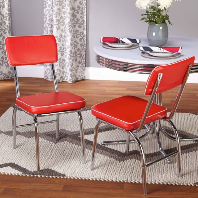 retro chrome chairs lounge chair pool vintage 50 s diner style seats set of 2 red vinyl dining