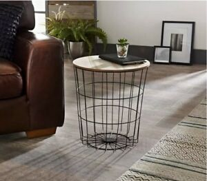 details about tromso contemporary black metal wire round wood top basket coffee side table