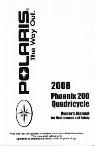 2008 Polaris Quadricycle 200 ATV Owners Manual : 9921503