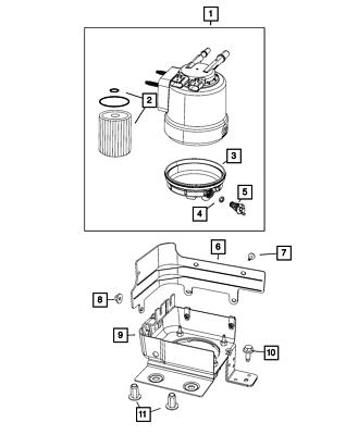 Genuine MOPAR Fuel/Water Separator Filter Kit 68436631AA
