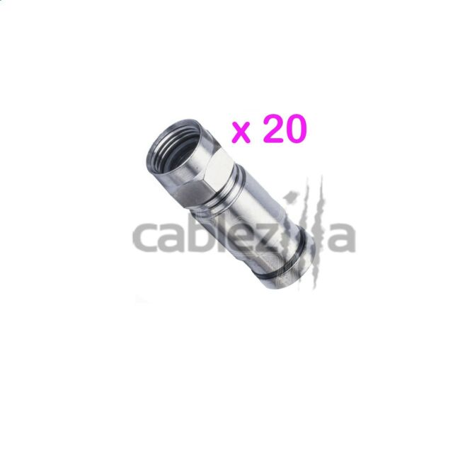 20 RG6 F Compression Male Connector Plug Coax Outdoor